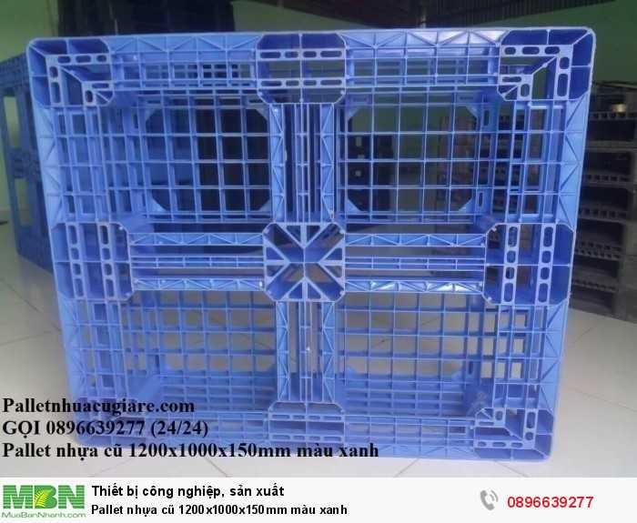 Pallet nhựa cũ 1200x1000x150mm màu xanh - Gọi 0896639277 (24/24)