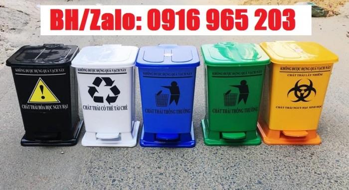 thùng rác 15 lít màu xanh, vàng, đen, trắng2