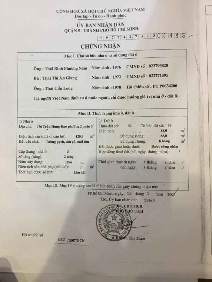 Bán Hoặc Cho Thuê nhà góc 2 mặt tiền Trần Hưng Đạo quận 5