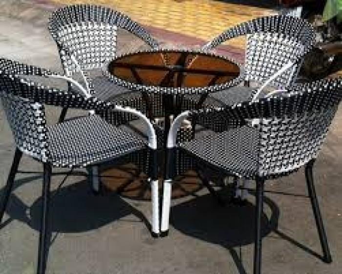 Bàn ghế cafe mây nhựa giá rẻ tại xưởng sản xuất HGH 6880
