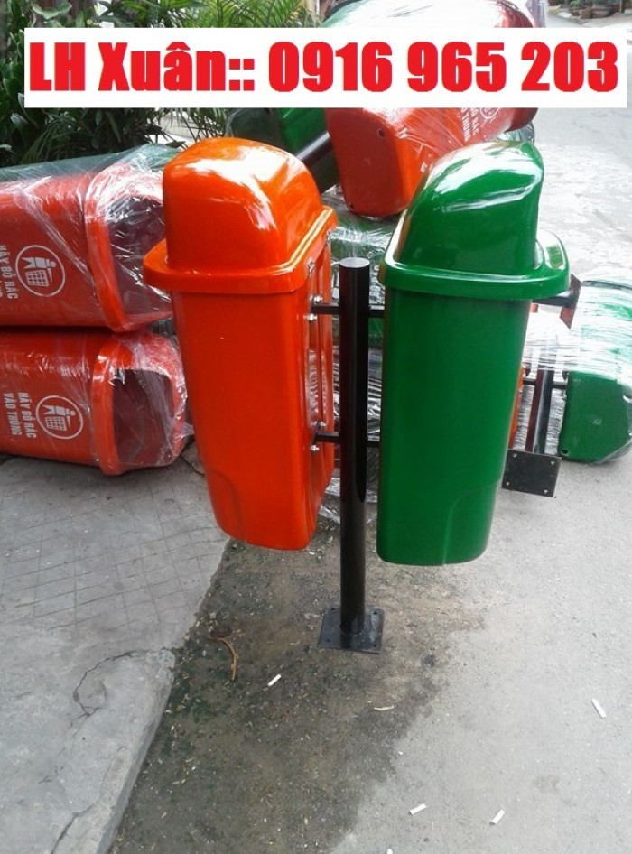 thùng rác công cộng 2 ngăn2