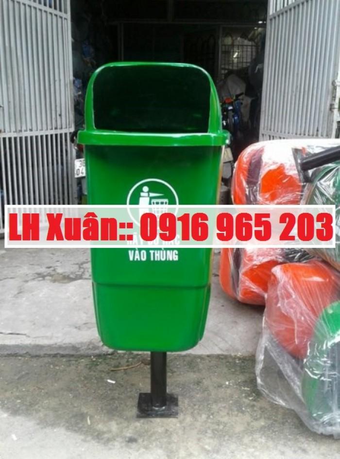 thùng rác cọc treo 2 ngăn 2 màu0