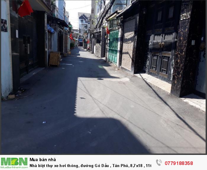 Nhà biệt thự xe hơi thông, đường Gò Dầu , Tân Phú, 8,7x18