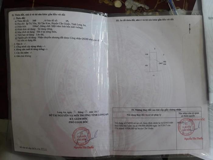 Kẹt tiền nên cần bán gấp 104m2 đất tại xã Tân Kim, huyện Cần Giuộc, tỉnh Long An.