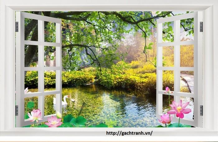 Tranh cửa sổ vườn hoa - gạch tranh 3d - tranh gạch 3d5