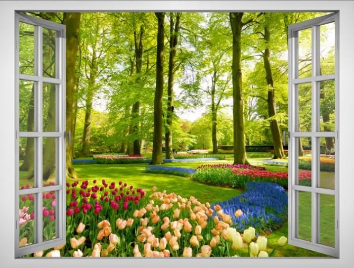 Tranh cửa sổ vườn hoa - gạch tranh 3d - tranh gạch 3d4