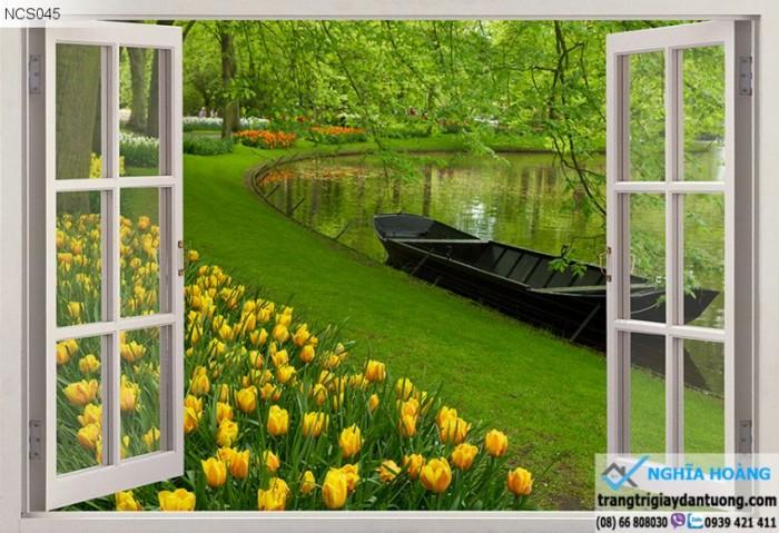Tranh cửa sổ vườn hoa - gạch tranh 3d - tranh gạch 3d6