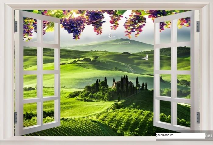 Tranh cửa sổ vườn hoa - gạch tranh 3d - tranh gạch 3d3