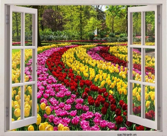 Tranh cửa sổ vườn hoa - gạch tranh 3d - tranh gạch 3d1