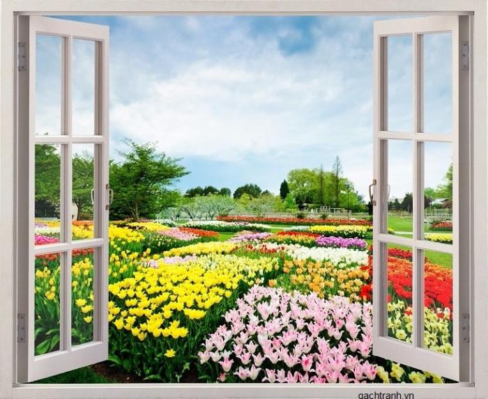 Tranh cửa sổ vườn hoa - gạch tranh 3d - tranh gạch 3d2