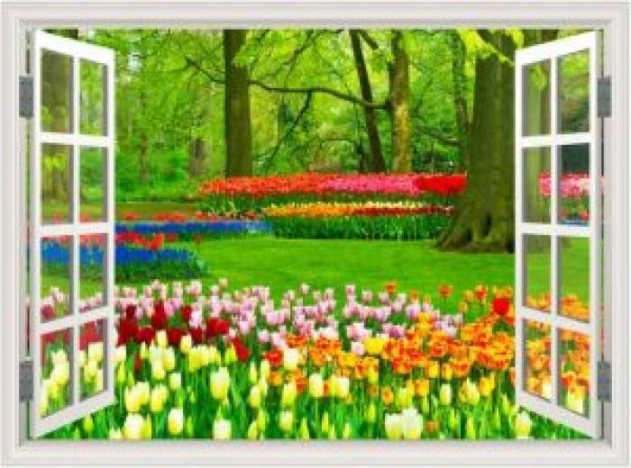 Tranh cửa sổ vườn hoa - gạch tranh 3d - tranh gạch 3d0