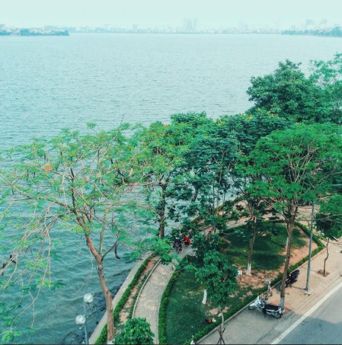 Bán ĐẤT MẶT PHỐ mặt tiền 12.9m, 139m2 Trấn Vũ ngã tư Thanh Niên, hồ Trúc Bạch, Ba Đình