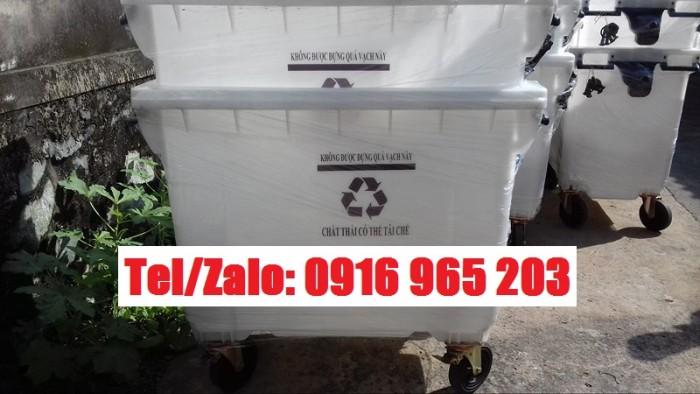 xe thu gom rác thải tái chế 660 lít màu trắng1