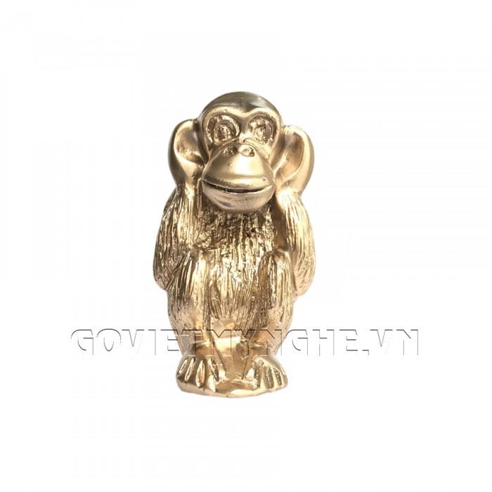 Tượng Đá Bộ Ba Đười Ươi Tam Không (Màu Nhũ Vàng) - Kích thước: Dài 18cm x Rộng 6cm x Cao 11cm . Giá : 220.000₫1