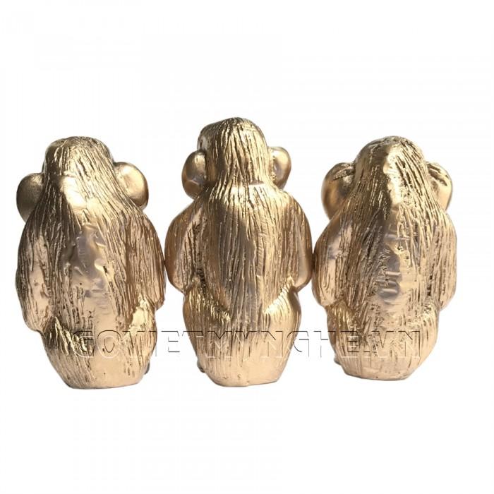 Tượng Đá Bộ Ba Đười Ươi Tam Không (Màu Nhũ Vàng) - Kích thước: Dài 18cm x Rộng 6cm x Cao 11cm . Giá : 220.000₫4