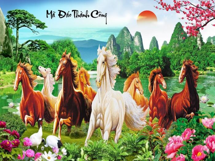 Gạch tranh 3d ngựa phong thủy lk9872