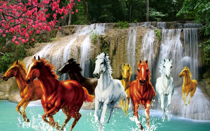 Gạch tranh 3d ngựa phong thủy lk9871
