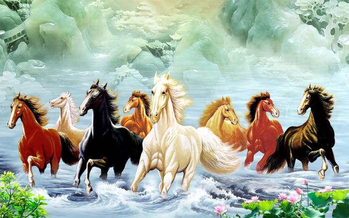Gạch tranh 3d ngựa phong thủy lk987