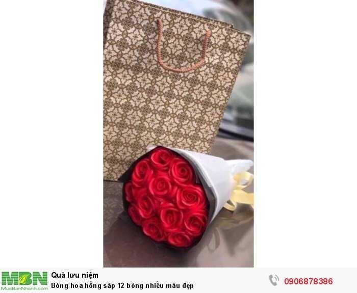 Bóng hoa hồng sáp 12 bông nhiều màu đẹp3