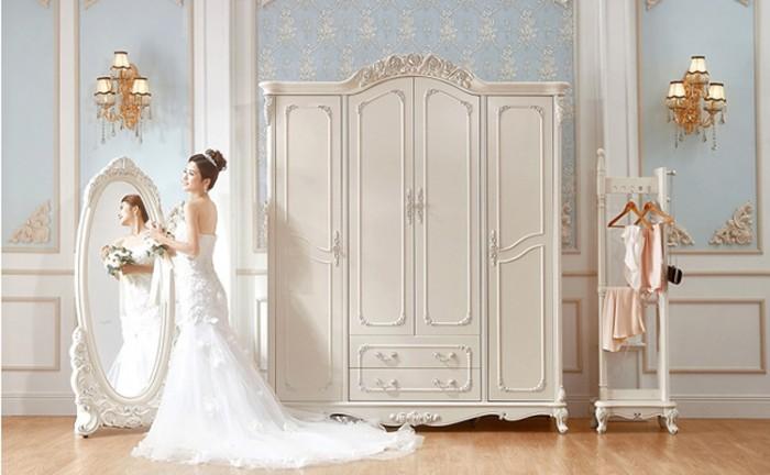 tủ quần áo cổ điển màu trắng0