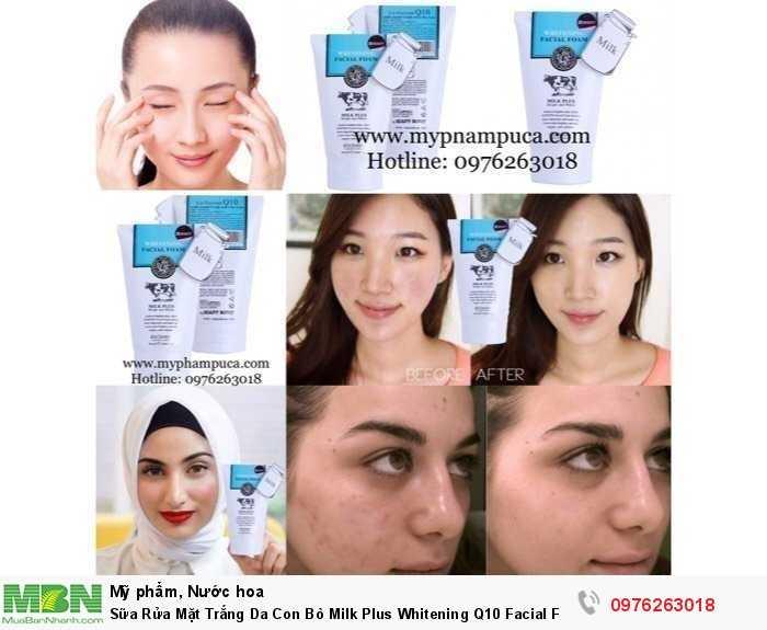 Sữa Rửa Mặt Trắng Da Con Bò Milk Plus Whitening Q10 Facial Foam 100ml