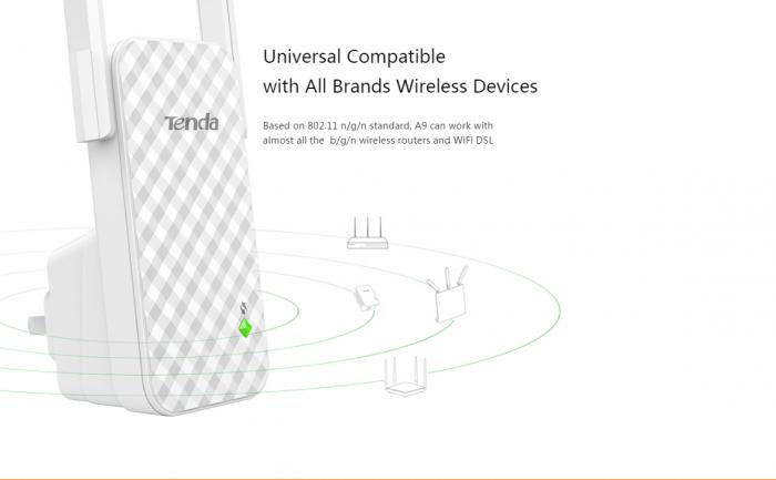 Bộ Kích Sóng Wifi Repeater 300Mbps Tenda A9 (Chính Hãng)7