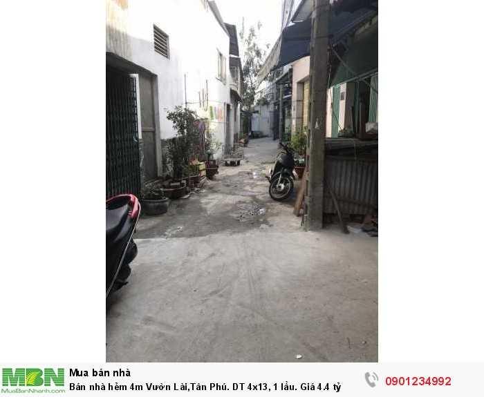 Bán nhà hẻm 4m Vườn Lài,Tân Phú. DT 4x13, 1 lầu.