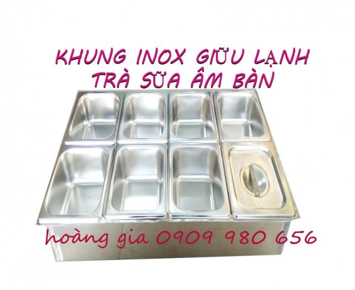 Khung inox giữ lạnh trà sữa  âm bàn1