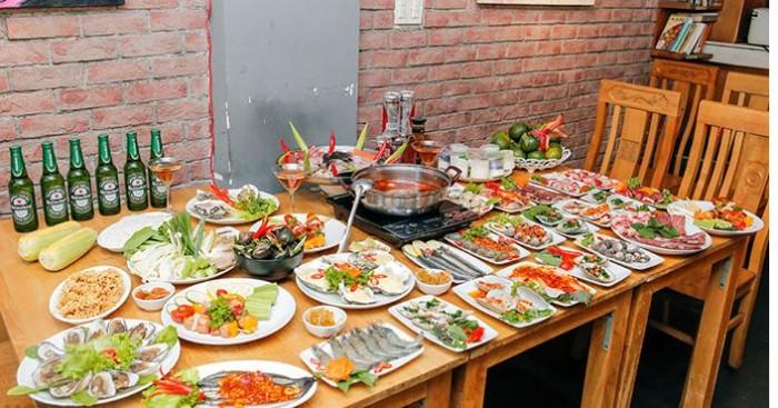 Buffet Hải Sản Nướng Lẩu HCM Nhà hàng Saigon Marvel Hostel giá rẻ29