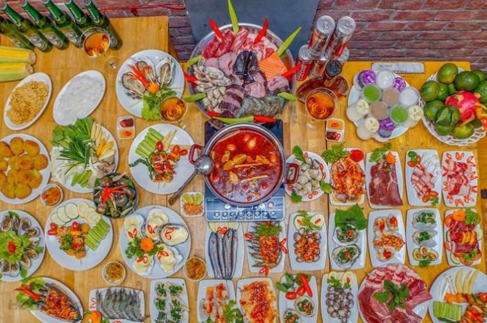 Buffet Hải Sản Nướng Lẩu HCM Nhà hàng Saigon Marvel Hostel giá rẻ2