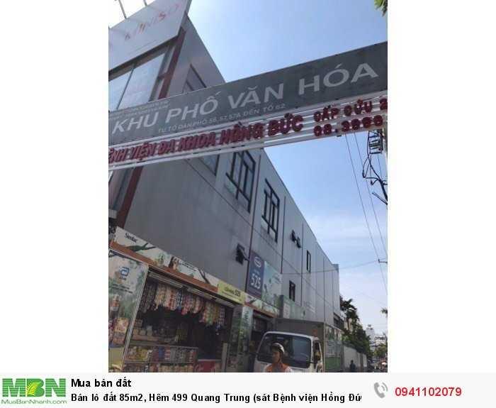 Bán lô đất 85m2, Hẽm 499 Quang Trung (sát Bệnh viện Hồng Đức), P10, Gò Vấp