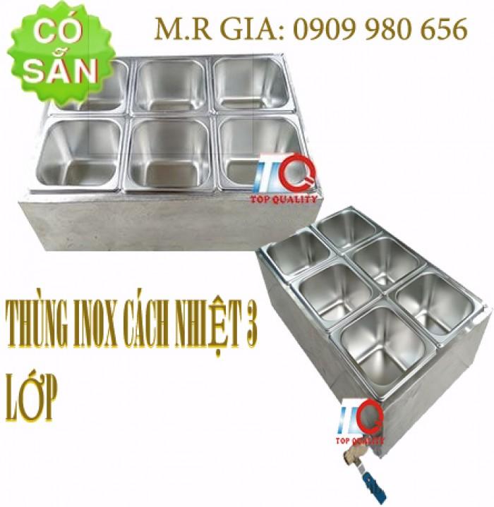Quầy inox bán trà sữa giữ nhiệt tại bàn0