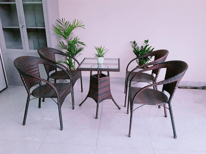 Bàn ghế cafe mây nhựa giá rẻ tại xưởng sản xuất HGH 8350