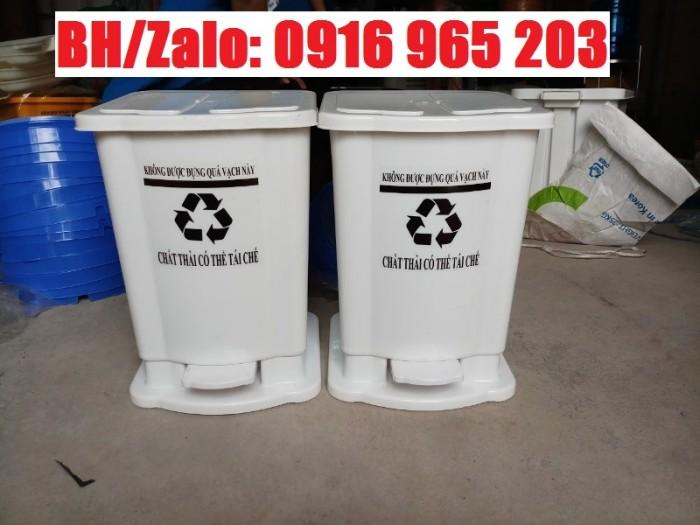 thùng rác đạp chân 15 lít màu trắng1