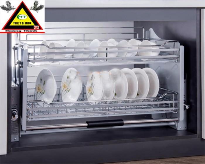 Kệ nâng hạ tủ bếp trên inox nan1