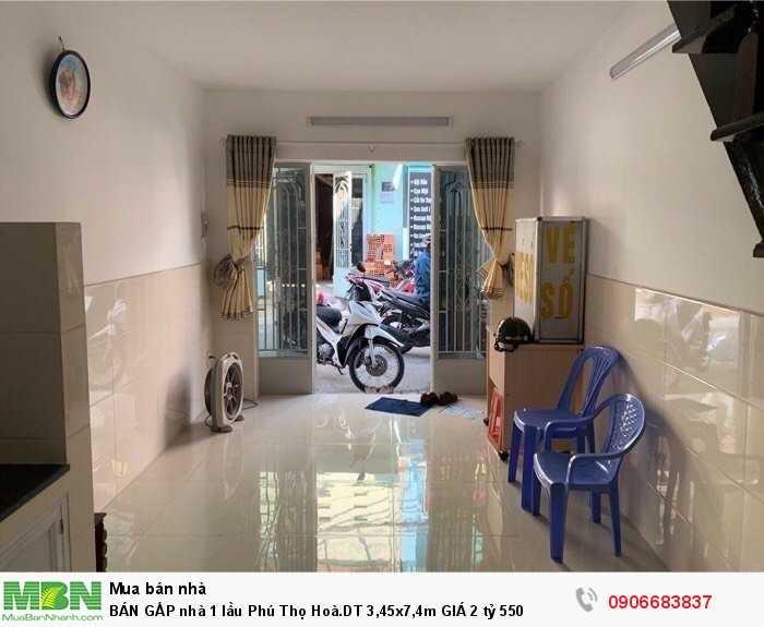 BÁN GẤP nhà 1 lầu Phú Thọ Hoà.DT 3,45x7,4m