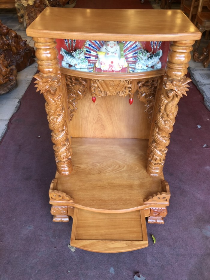 Bàn thờ gỗ gỏ đỏ hộp đèn 70cm1