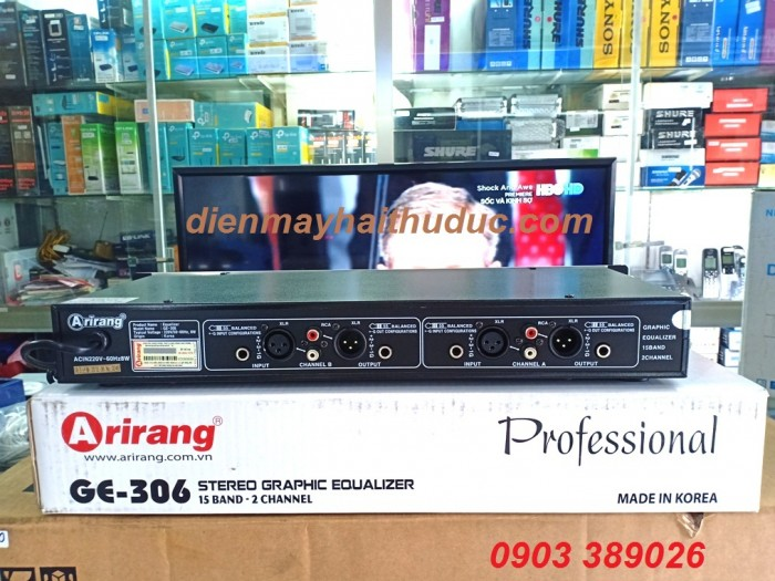 Lọc Arirang GE-306 Nhập khẩu từ Hàn Quốc, Các ngõ kết nối: jack XLR (CANNON), jack 6.5mm, jack RCA (bông sen)2