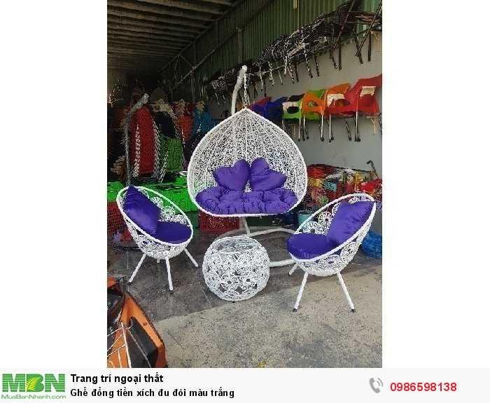 Ghế đồng tiền xích đu đôi màu trắng