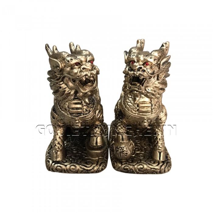 Cặp Tượng Đá Tỳ Hưu Phong Thủy 2 Sừng - Màu Nhũ Vàng - Kích thước: Dài 11cm x Rộng 7cm x Cao 12cm (kích thước 1 tượng). Giá : 350.000₫2