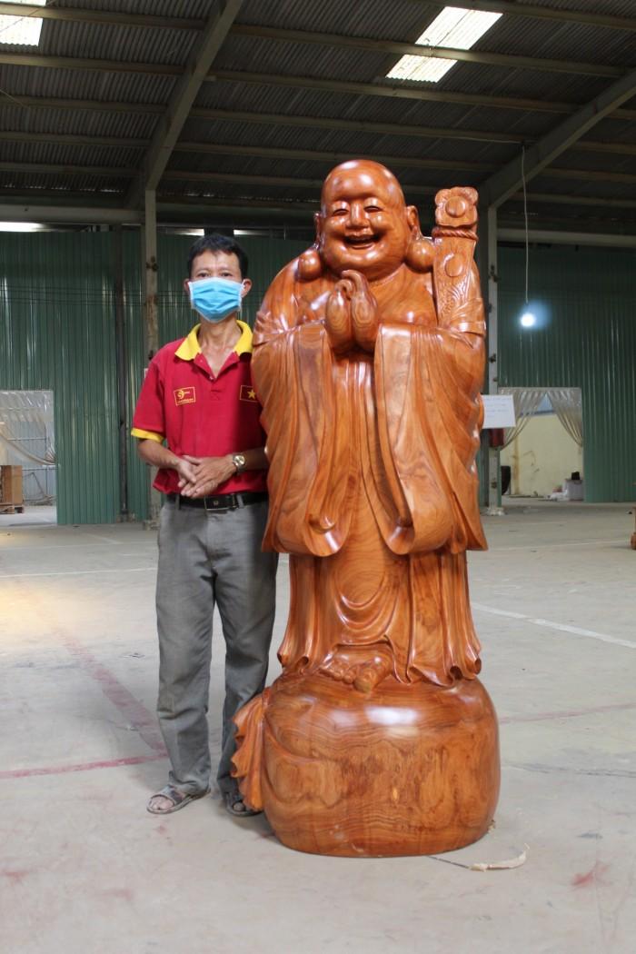 Tượng Di Lạc Chúc Phúc Gỗ Hương Cao 1m76.1
