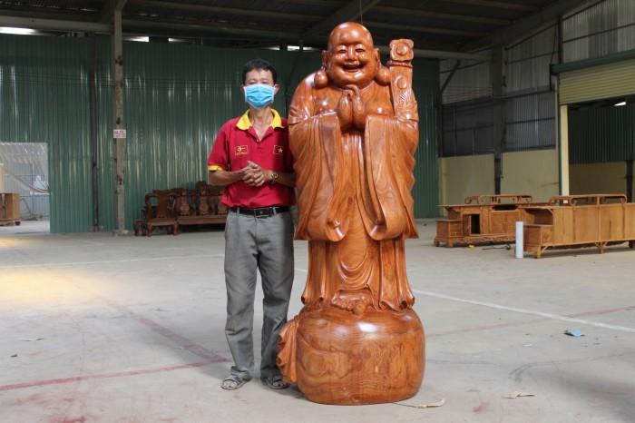 Tượng Di Lạc Chúc Phúc Gỗ Hương Cao 1m76.3
