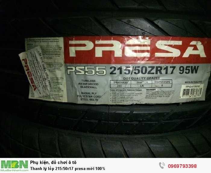 Thanh lý lốp 215/50r17 presa mới 100%