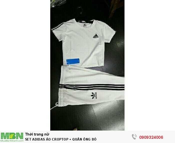 Set Adidas  Áo Croptop + Quần Ống Bó0