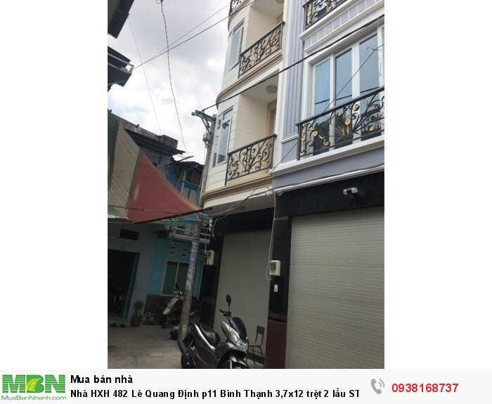 Nhà HXH 482 Lê Quang Định p11 Bình Thạnh 3,7x12 trệt 2 lầu ST, 4pn. Nhà mới ở liền