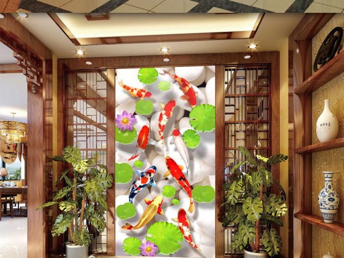 Tranh gạch 3d cá chép hoa sen phong thủy phòng khách2