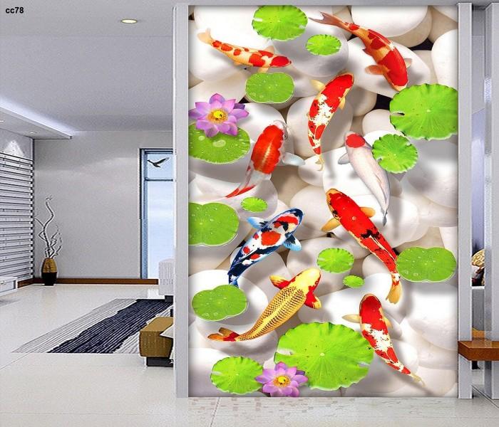 Tranh gạch 3d cá chép hoa sen phong thủy phòng khách0
