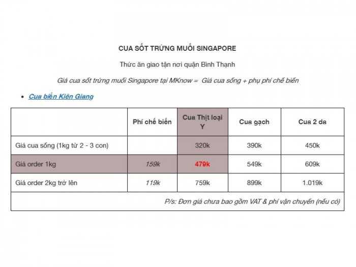 Giá cua sốt trứng muối Singapore - cua sốt Hoàng Kim Singapore từ Mknow.vn