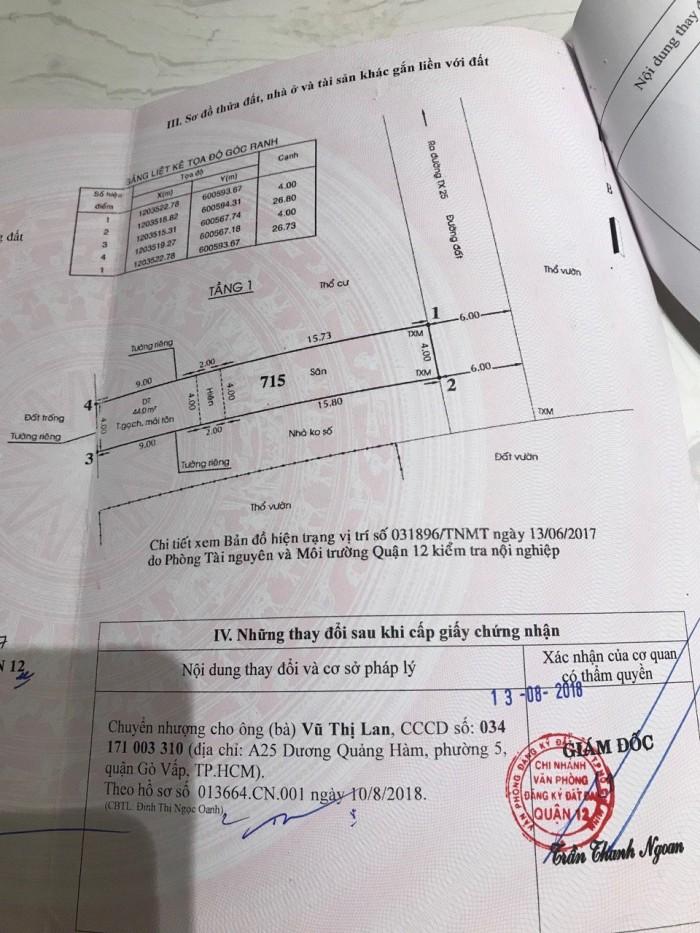 Bán đất đường Thạnh Xuân 25  Q12, 4 x 26m, sổ hồng riêng.