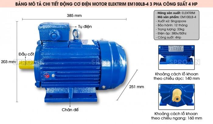 Động cơ điện motor Elektrim EM90L-2 Công suất 3 HP
